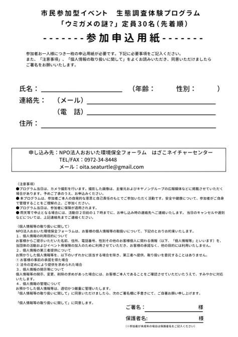 ウミガメ4月 参加申込用紙