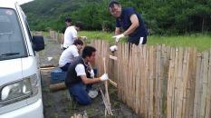 学生たちは防砂垣の設置作業