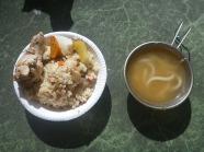 炊き込みご飯、手羽元のローズマリー蒸し&スープ